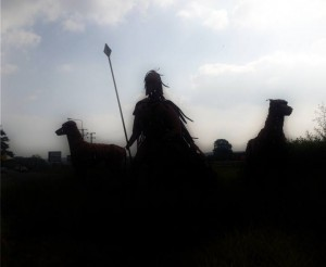 ON THE ROAD IN IRELAND - STATUE OF FIONN MAC CUMHAILL AND HIS HOUNDS